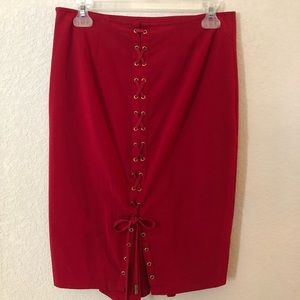 Victoria Secret Pencil Skirt Lace Up Back Red 6